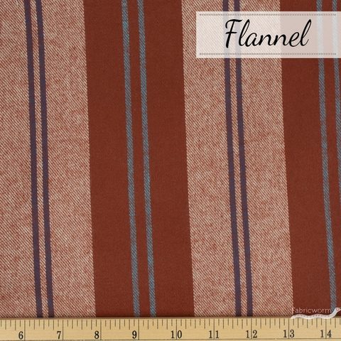 Robert Kaufman, Taos FLANNEL Stripes, Two to One Rust