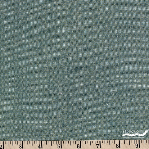 Robert Kaufman, Yarn-Dyed Essex Metallic, LINEN, Emerald