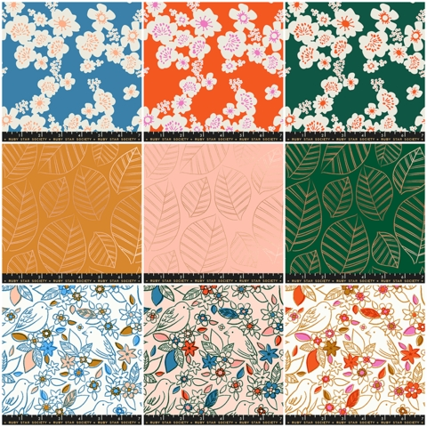 Ruby Star Society, Aviary, PRE-CUT Entire Collection in HALF YARDS 9 Total