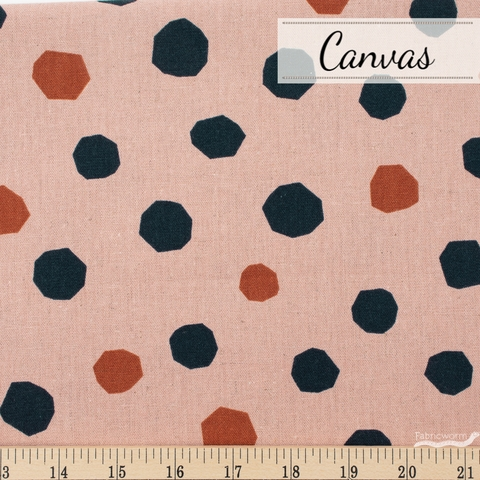 Ruby Star Society, Cotton Linen Canvas 2019, Chunky Dots Pink