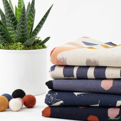 Ruby Star Society, Cotton Linen Canvas 2019, Navy PRE-CUT in FAT QUARTERS 5 Total