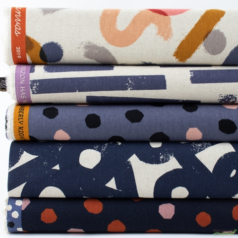 Ruby Star Society, Cotton Linen Canvas 2019, Navy PRE-CUT in HALF YARDS 5 Total