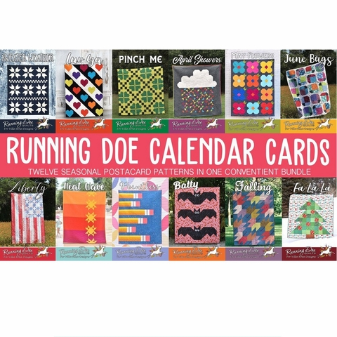 Running Doe Quilts, Sewing Pattern, Calendar Card Bundle 12 Total