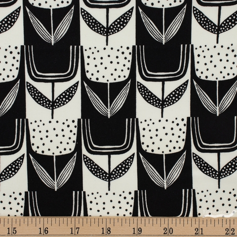 Sarah Golden for Andover, Perennial, Patchwork Tulips Charcoal