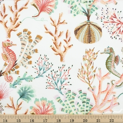 Main Sea Life in White From Sea Botanica Collection by Sarah Gordon for Figo Fabric 100/% Quilt Shop Cotton