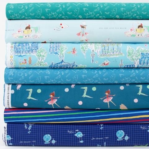 Sarah Jane for Michael Miller, Lola Dutch, Blue in FAT QUARTERS 7 Total