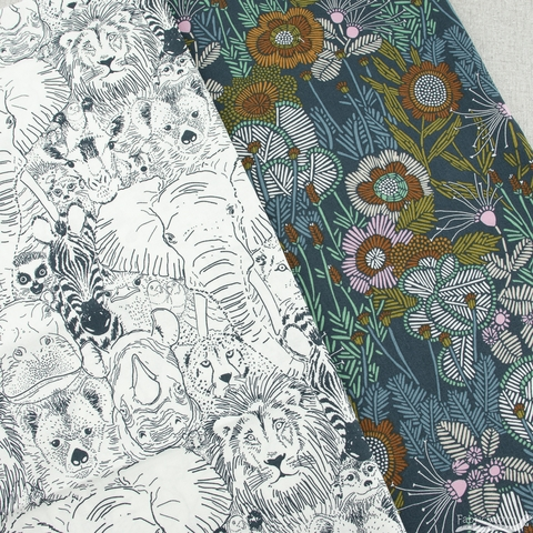 Sarah Watson For Cloud9 Organic, Grasslands, Embroidered Floral