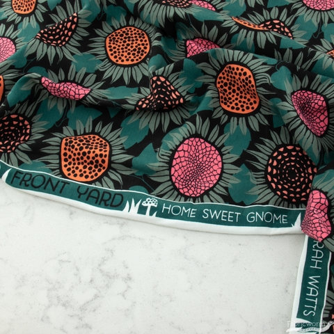 Sarah Watts for Cotton + Steel, Front Yard Jersey Knit, Sunflowers Green