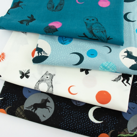 Sarah Watts for Ruby Star Society, Crescent, Forest Dot Teal