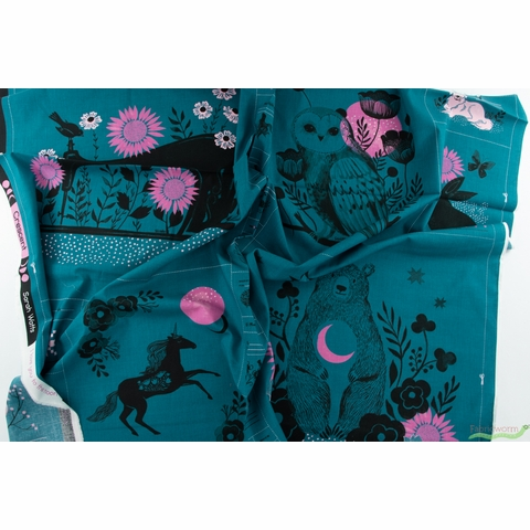 """Sarah Watts for Ruby Star Society, Crescent, Forest Teal (36"""" Panel)"""