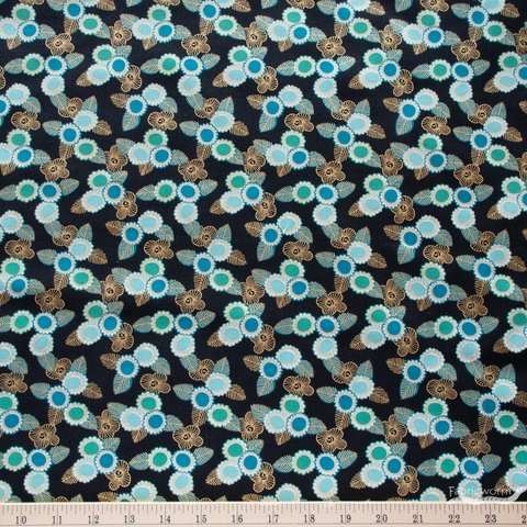 Sarah Watts for Ruby Star Society, Purl, Embroidered Floral Black Metallic