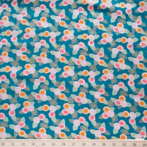Sarah Watts for Ruby Star Society, Purl, Embroidered Floral Teal Metallic