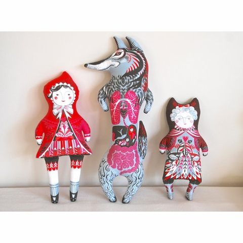 Sarah Young, Tea Towel Plushies, Red Riding Hood and the Wolf