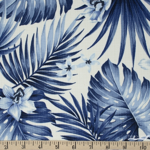 Sevenberry for Robert Kaufman, BARKCLOTH, Stylish Aloha Navy