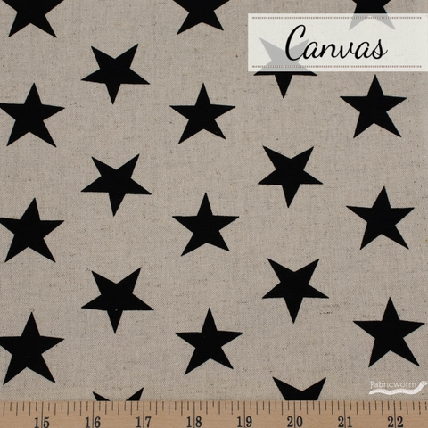 Sevenberry For Robert Kaufman, Cotton Flax Natural, Stars Jet
