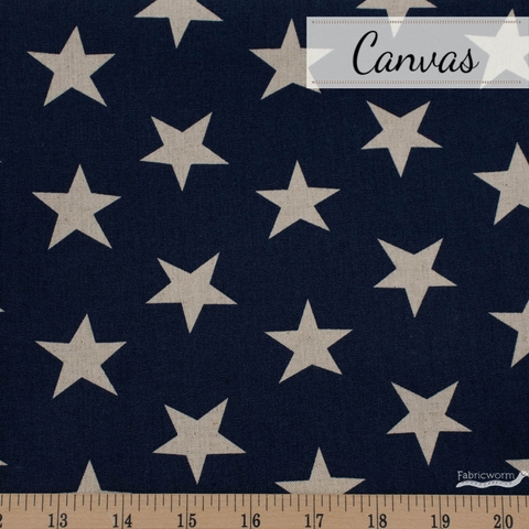 Sevenberry For Robert Kaufman, Cotton Flax Natural, Stars Midnight
