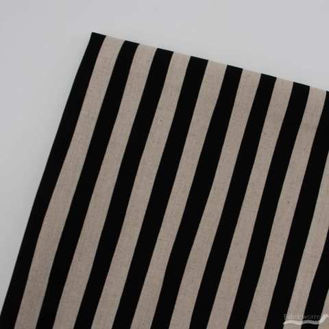 Sevenberry For Robert Kaufman, Cotton Flax Natural, Stripes Black