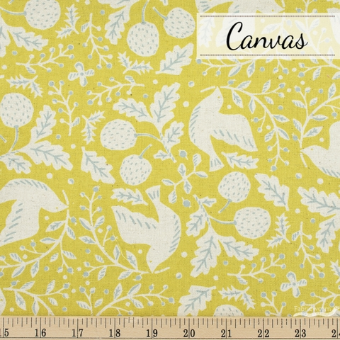 Sevenberry For Robert Kaufman, Cotton Flax Prints, Busy Birds Chartreuse