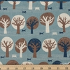 Sevenberry for Robert Kaufman, Cotton Flax Prints, Feline Frolic Blue
