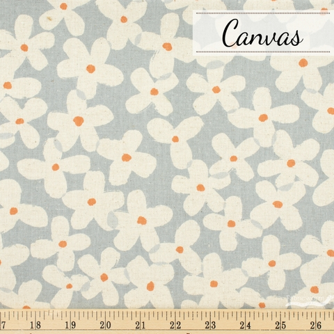 Sevenberry For Robert Kaufman, Cotton Flax Prints, Fruit Blossom Grey