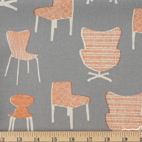 Sevenberry for Robert Kaufman, Cotton Flax Prints, Have a Seat Grey