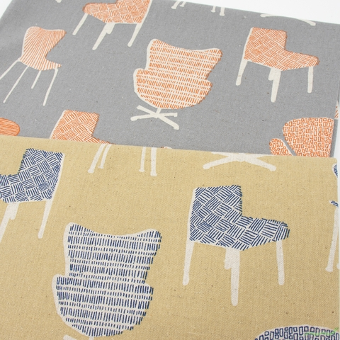 Sevenberry for Robert Kaufman, Cotton Flax Prints, Have a Seat Natural