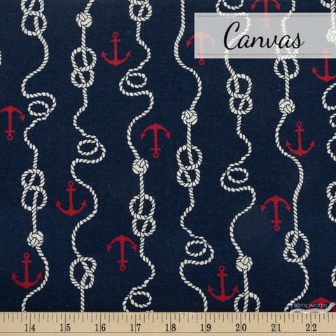 Sevenberry For Robert Kaufman, Cotton Flax Prints, Knotted Navy
