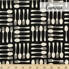 Sevenberry For Robert Kaufman, Cotton Flax Prints, Spoons and Forks Black