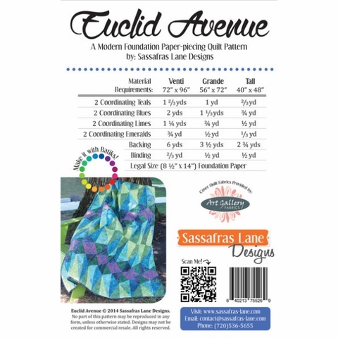 Sewing Pattern, Sassafras Lane Designs, Euclid Avenue