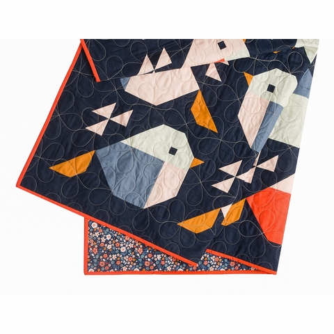 Sparrows Quilt Kit by Pen + Paper Patterns Featuring Birch Organic Bella Lawn