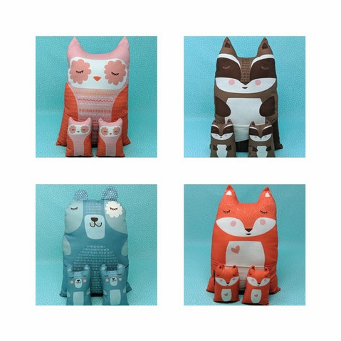 Stacy Iest Hsu for Moda, Cut Sew Create, Forest Animal Plushies Project Panel