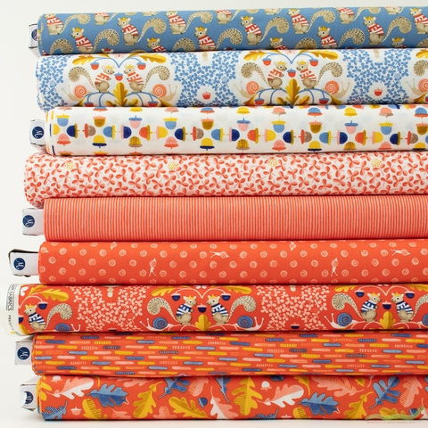 Striped Pear Studio for Windham, Sweet Oak, Coral in FAT QUARTERS 9 Total (PRECUT)