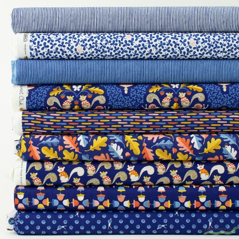 Striped Pear Studio for Windham, Sweet Oak, Navy in FAT QUARTERS 9 Total