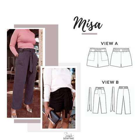Style Sew Me, Sewing Pattern, Misa Shorts Pants
