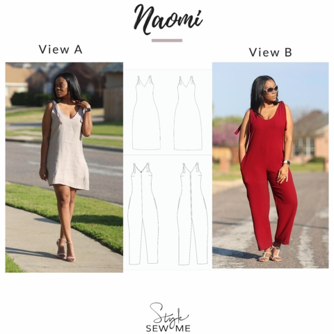 Style Sew Me, Sewing Pattern, Naomi Dress Jumpsuit