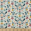 Sylvia Takken for Cotton and Steel, In Bloom, Floral Garden Seafoam