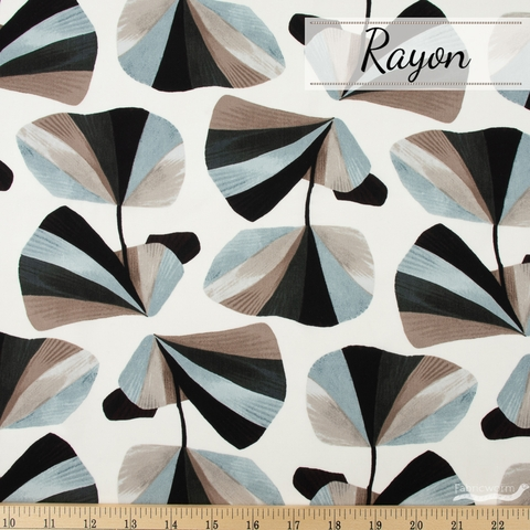 Sylvia Takken for Cotton and Steel, In Bloom Rayon, In Bloom Gray