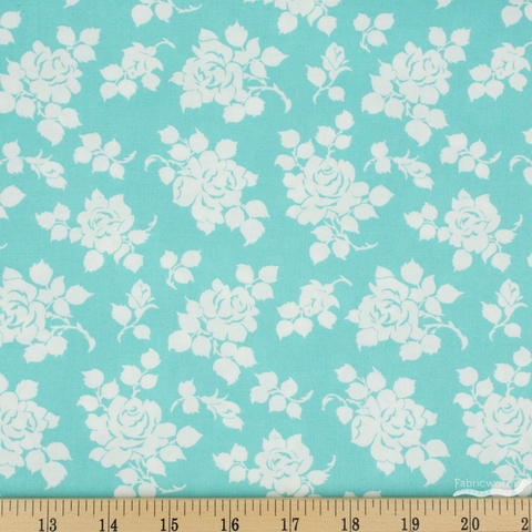 Tanya Whelan for Clothworks, Janey, Roses Aqua