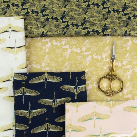 Teresa Chan for Camelot Fabrics, Mystic Cranes, Flying Cranes Navy Gold Metallic