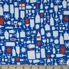 The Printed Peanut for FIGO, Wintertide, Champagne Bottles Blue
