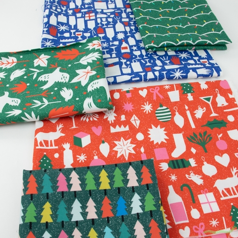 The Printed Peanut for FIGO, Wintertide, Christmas Trees Green