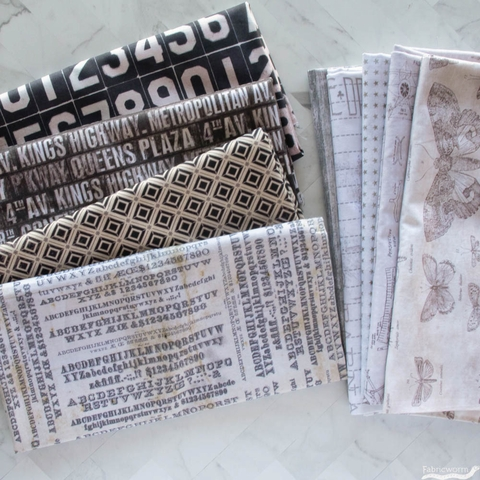 Tim Holtz for Free Spirit, Monochrome, Subway Signs Charcoal