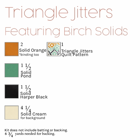 Triangle Jitters Quilt Kit Featuring Birch Organic Solids (PRECUT)