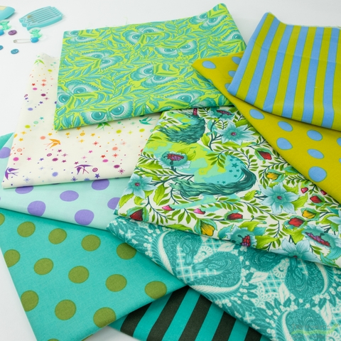 Tula Pink for Free Spirit, All Stars, Myrtle in FAT QUARTERS 9 Total