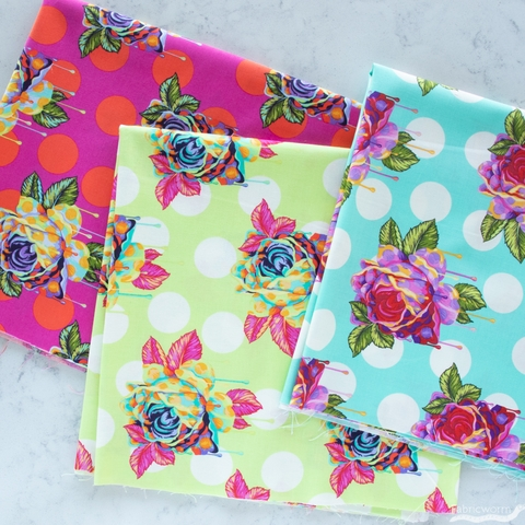 Tula Pink for Free Spirit, Curiouser & Curiouser, Painted Roses Wonder