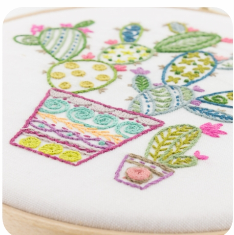 Un Chat dans l'ainguille, Embroidery Kit, Cactus