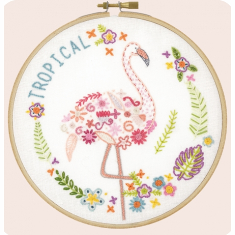 Un Chat dans l'ainguille, Embroidery Kit, Gontran The Flamingo