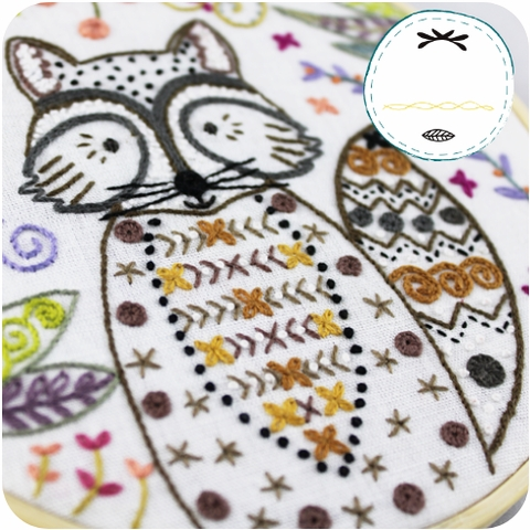 Un Chat dans l'ainguille, Embroidery Kit, Riton Raccoon