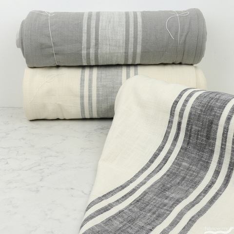 Urban Chiks for Moda, Urban Cottage, TOWELING, Center Stripe Ivory Black