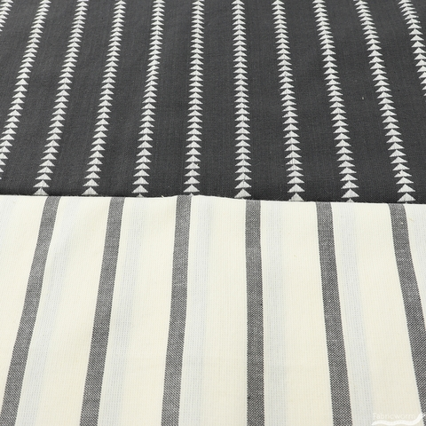 Urban Chiks for Moda, Urban Cottage, WOVENS, Triangle Stripe Black Ivory